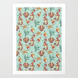 Ocean Seashell & Seahorses Seamless Pattern Bathroom \ Bedroom Decor Art Print