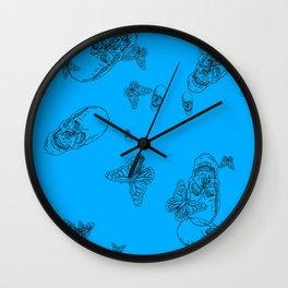 Blue Skulls and Butterflies Wall Clock
