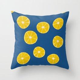 Blue Summer Lemons Throw Pillow