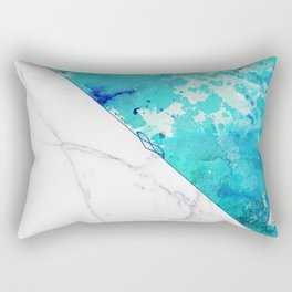 Teal watercolor paint splatters white marble Rectangular Pillow