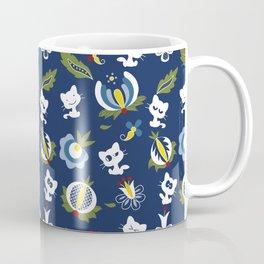 Cat with Ethnic Folk Flower Coffee Mug