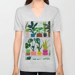 Plants on the Shelf in Gray + White Wood Unisex V-Neck