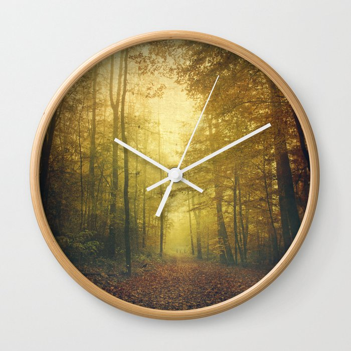 fall morning forest Wall Clock