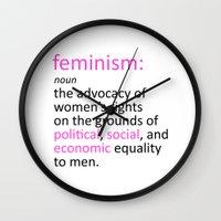 feminism Wall Clocks featuring Feminism Defined by tjseesxe