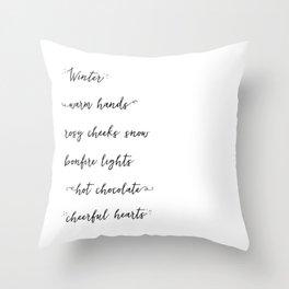 Winter Words Throw Pillow