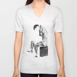 Portrait in watercolor Ian Curtis ( from Joy Division) Unisex V-Neck
