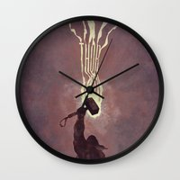 thor Wall Clocks featuring Thor by Duke Dastardly