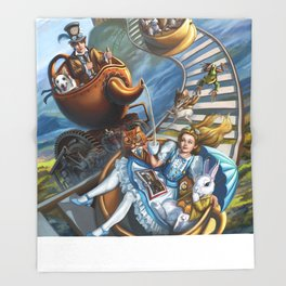 Steampunk Alice in Wonderland Teacups  Throw Blanket