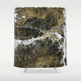 Team Splash, Black and Gold Shower Curtain