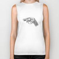 gun Biker Tanks featuring Gun by ToppArt