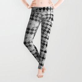 Slim Look Leggings Checkers White Paint Stripes Pattern Leggings