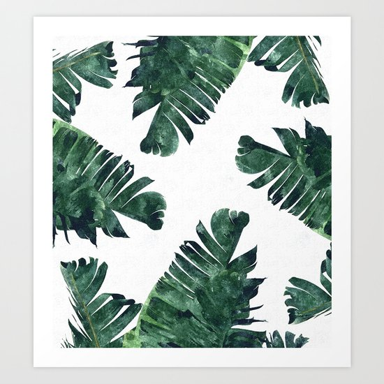 Jungle shower curtain - Banana Leaf Watercolor Pattern Society6 Art Print By 83 Oranges