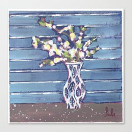 Blue Flowers in Vase Canvas Print