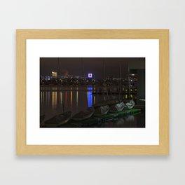 Citgo Sign through the boats on the Charles River Boston MA Massachusetts Framed Art Print