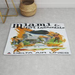 Vintage poster - Miami and Fort Lauderdale Rug