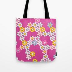 Flower tiles in hot pink Tote Bag