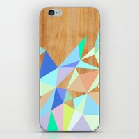 wooden iPhone & iPod Skins featuring Wooden Geo Aqua by Jenna Mhairi
