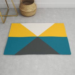 Split X Teal & Yellow Rug