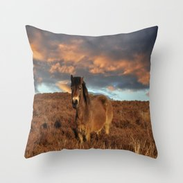 Horse on the moors Throw Pillow