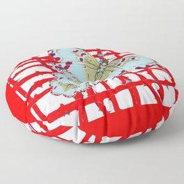 RED-WHITE MOTHS  IN SYNCHRONIZED FLIGHT Floor Pillow