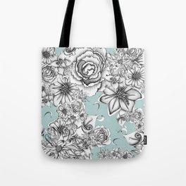 B&W Flowers Blue Tote Bag