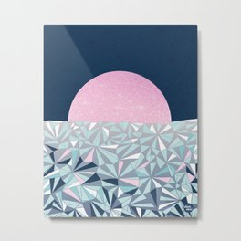 Geometric Sunset - Navy Blue and Pink Metal Print