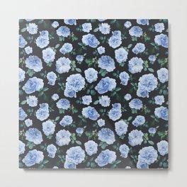 Blue Roses Flower pattern Metal Print
