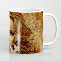 jennifer lawrence Mugs featuring Portrait of Jennifer Lawrence by André Joseph Martin