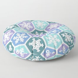 Purple Blue and Teal Nordic Christmas Snowfall Pattern Floor Pillow