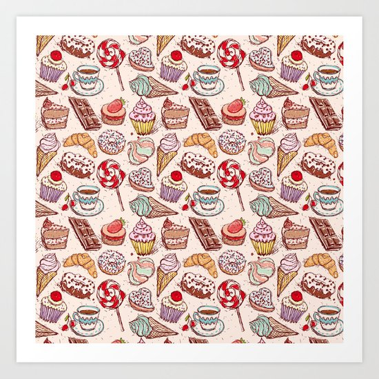 Hand drawn confectionery croissant Cupcake candy ice cream cake donut and coffee by ekaterinap