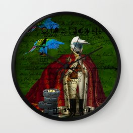 THE DISTORTED KING, THE DISTORTED COLORFUL PARROTS AND THEIR DISTORTED TREASURE OF SPARE TIRES II Wall Clock
