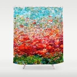 Field Of Spring Poppies Panorama Shower Curtain