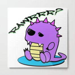 Muki the tired yami kawaii pastel dinosaur Metal Print