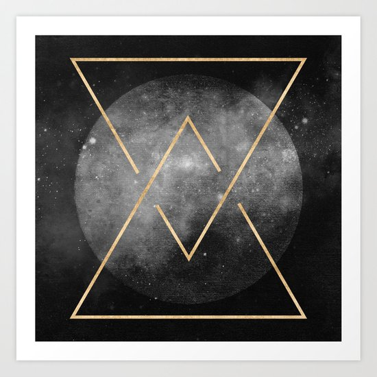 Gold Moon Geometric Tribal Design Art Print
