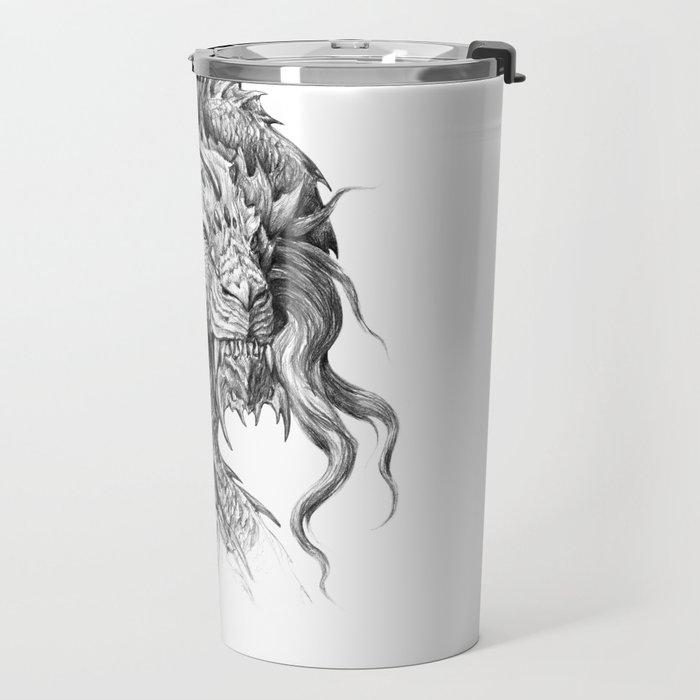 Dark Side Japanese Dragon portrait | Graphite Pencil art Travel Mug