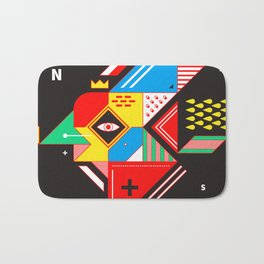 Vintage Abstract Art Colorful Geometric Shape Pattern with an Eye Bath Mat