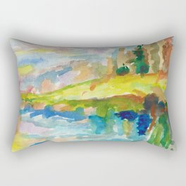 Autumn expressionism landscape by the lake Rectangular Pillow