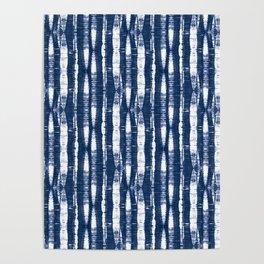 Shibori Stripes Indigo Blue Poster