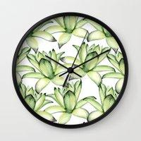 succulents Wall Clocks featuring Succulents by Julia Badeeva