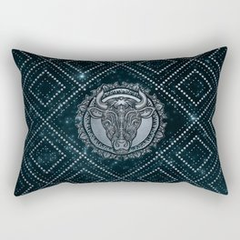 Taurus Zodiac Silver Embossed on the Star sky Rectangular Pillow