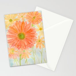 Orange Coral and Yellow Daisy Watercolor Flower Stationery Cards