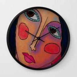 Blush Abstract Digital Portrait of a Woman Wall Clock
