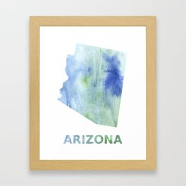 Arizona map outline Blue green blurred watercolor Framed Art Print