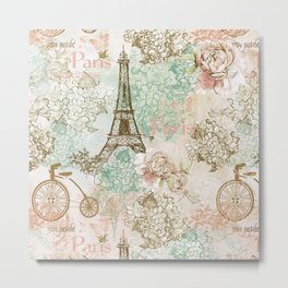 I love Paris - Vintage Shabby Chic - Eiffeltower France Flowers Floral Metal Print