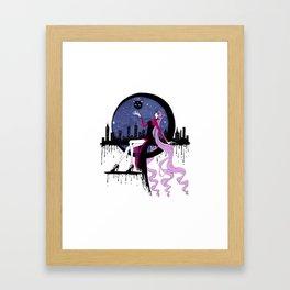 Black Lady (Chibiusa) night moon city Framed Art Print
