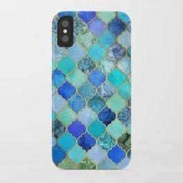 Cobalt Blue, Aqua & Gold Decorative Moroccan Tile Pattern iPhone Case