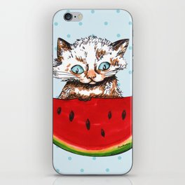 Cat and watermelon iPhone Skin