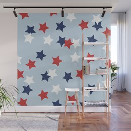 Little 4th of July stars American national holiday celebration pattern blue Wall Mural