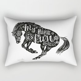 Horse (Funny Pony B&W) Rectangular Pillow
