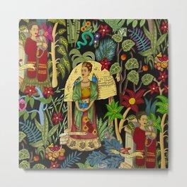 Frida's Garden, Casa Azul Lush Greenery Frida Kahlo Landscape Painting Metal Print